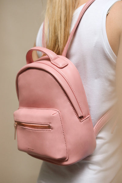 Balimina Taupe Vegan Leather Backpack | La Petite Garçonne on model