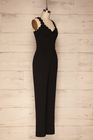 Balsillar Black Sleeveless Scalloped Jumpsuit | La Petite Garçonne side view