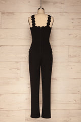 Balsillar Black Sleeveless Scalloped Jumpsuit | La Petite Garçonne back view