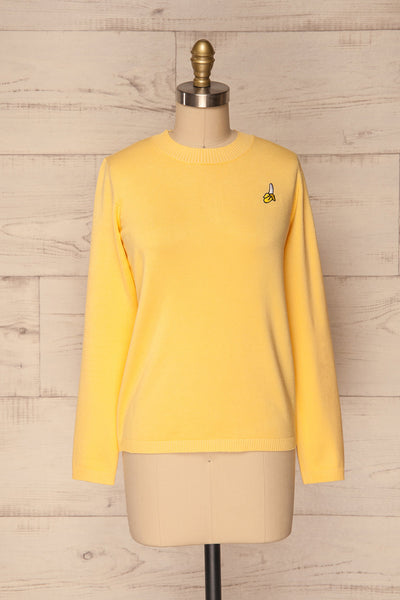 Bananah Yellow Embroidered Knit Sweater | La Petite Garçonne 1
