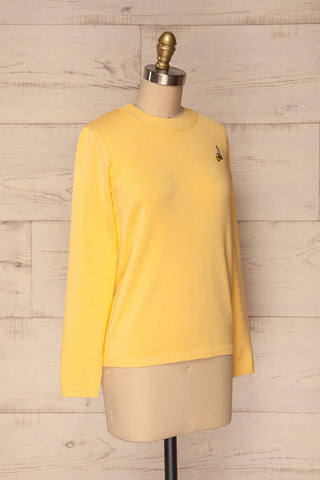 Bananah Yellow Embroidered Knit Sweater | La Petite Garçonne 5