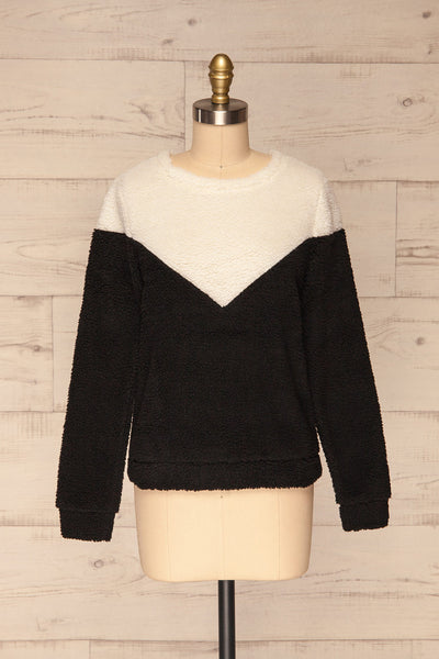 Banff Black & White Wooly Fleece Sweater | La Petite Garçonne front view