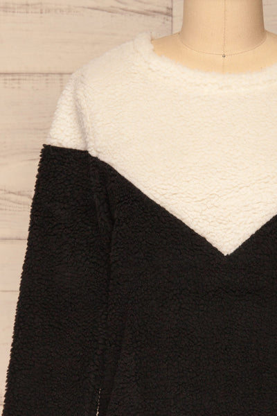 Banff Black & White Wooly Fleece Sweater | La Petite Garçonne front close-up