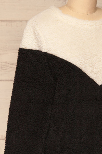 Banff Black & White Wooly Fleece Sweater | La Petite Garçonne side  close-up