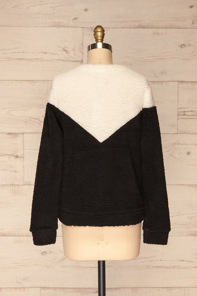 Banff Black & White Wooly Fleece Sweater | La Petite Garçonne back view