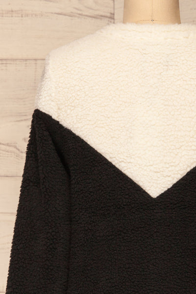 Banff Black & White Wooly Fleece Sweater | La Petite Garçonne back close-up