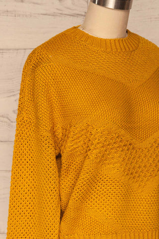 Banife Curcuma Yellow Knit Sweater side close-up | La Petite Garçonne