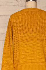 Banife Curcuma Yellow Knit Sweater back close-up | La Petite Garçonne