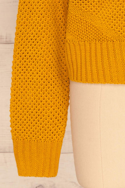 Banife Curcuma Yellow Knit Sweater sleeve close-up | La Petite Garçonne