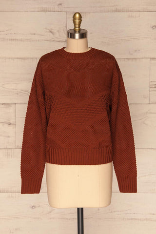 Banife Curry Brown Knit Sweater front view | La Petite Garçonne