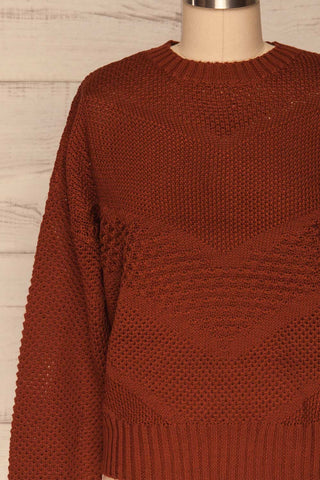 Banife Curry Brown Knit Sweater front close-up | La Petite Garçonne