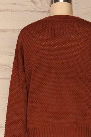 Banife Curry Brown Knit Sweater back close-up | La Petite Garçonne