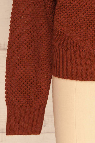 Banife Curry Brown Knit Sweater sleeve close-up | La Petite Garçonne