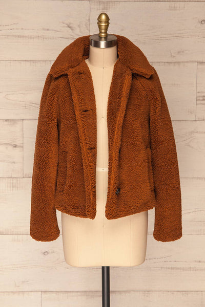 Bantigny Cannelle Brown Wooly Fleece Coat | La Petite Garçonne front view open