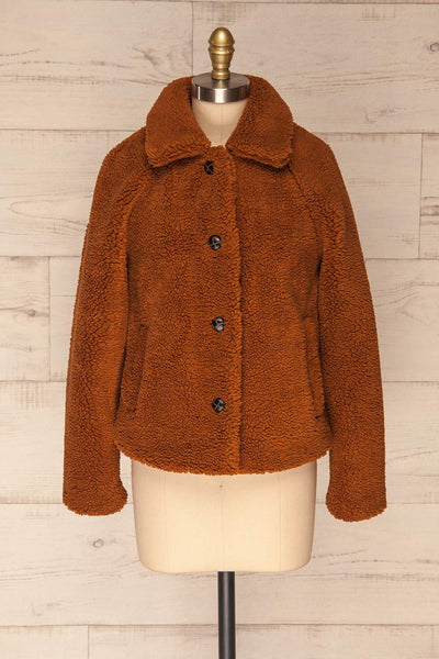 Bantigny Cannelle Brown Wooly Fleece Coat | La Petite Garçonne front view