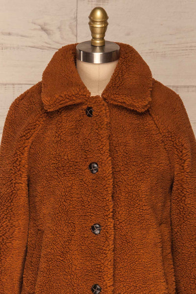 Bantigny Cannelle Brown Wooly Fleece Coat | La Petite Garçonne front close-up
