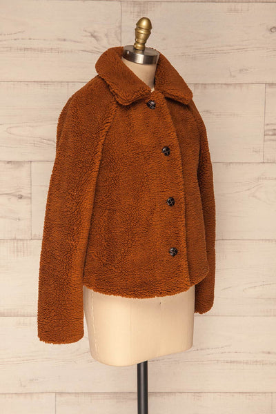 Bantigny Cannelle Brown Wooly Fleece Coat | La Petite Garçonne side view