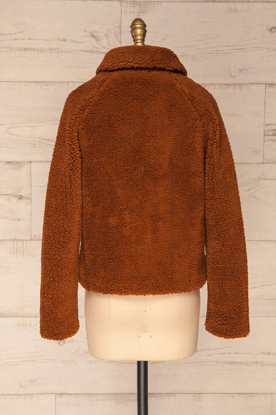 Bantigny Cannelle Brown Wooly Fleece Coat | La Petite Garçonne back view