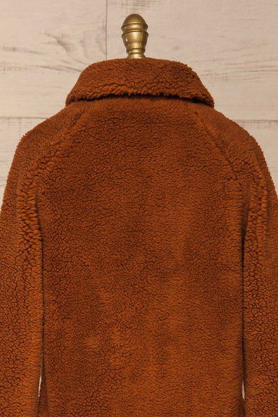 Bantigny Cannelle Brown Wooly Fleece Coat | La Petite Garçonne back close-up