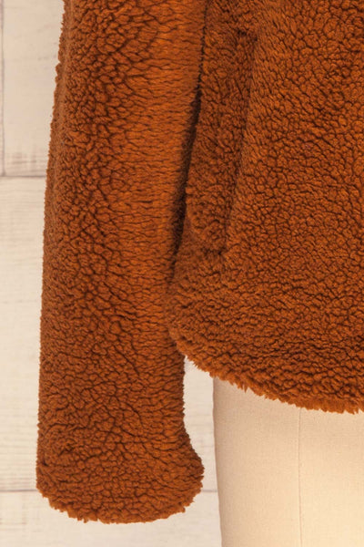Bantigny Cannelle Brown Wooly Fleece Coat | La Petite Garçonne bottom close-up