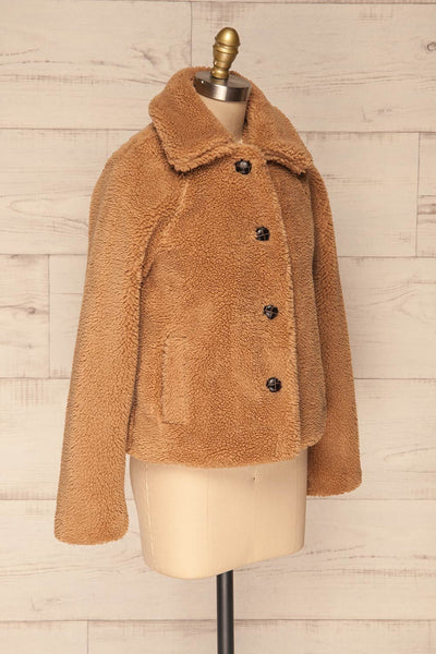 Bantigny Gingembre Beige Wooly Fleece Coat | La Petite Garçonne side view