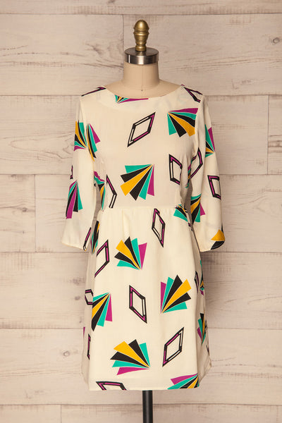 Bapska Colourfully Patterned Short A-Line Dress | La Petite Garçonne 1