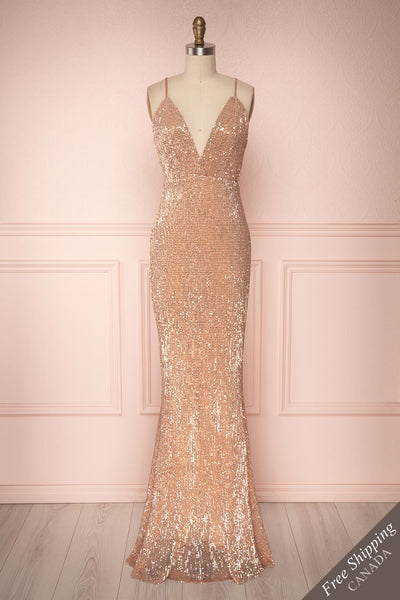 Barabal Rosegold Sequin V Neck Open Back Mermaid Gown | Boutique 1861