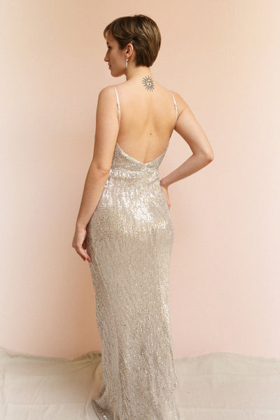 Barabal Silver Sequin Mermaid Gown | Robe Maxi | Boutique 1861 on model back view