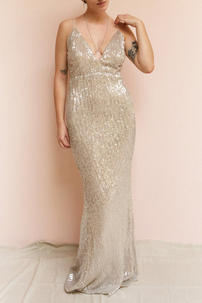 Barabal Silver Sequin Mermaid Gown | Robe Maxi | Boutique 1861 on model