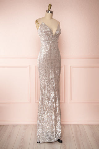 Barabal Silver Sequin Mermaid Gown | Robe Maxi | Boutique 1861 side view
