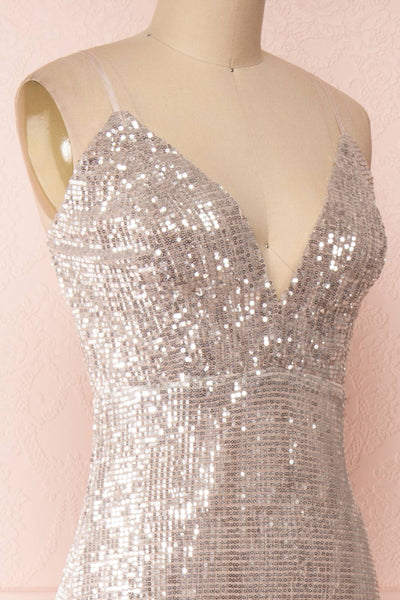 Barabal Silver Sequin Mermaid Gown | Robe Maxi | Boutique 1861 side close-up