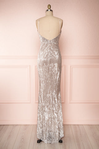 Barabal Silver Sequin Mermaid Gown | Robe Maxi | Boutique 1861 back view