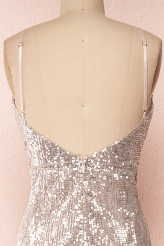 Barabal Silver Sequin Mermaid Gown | Robe Maxi | Boutique 1861 back close-up