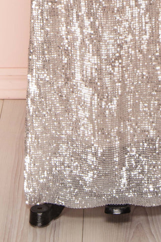 Barabal Silver Sequin Mermaid Gown | Robe Maxi | Boutique 1861 bottom close-up
