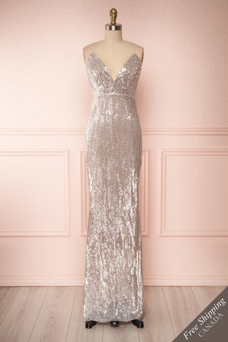 Barabal Silver Sequin Mermaid Gown | Robe Maxi | Boutique 1861 front view
