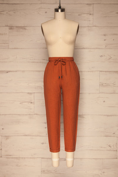 Barbascal Rust Orange Cropped Pants | La petite garçonne front view