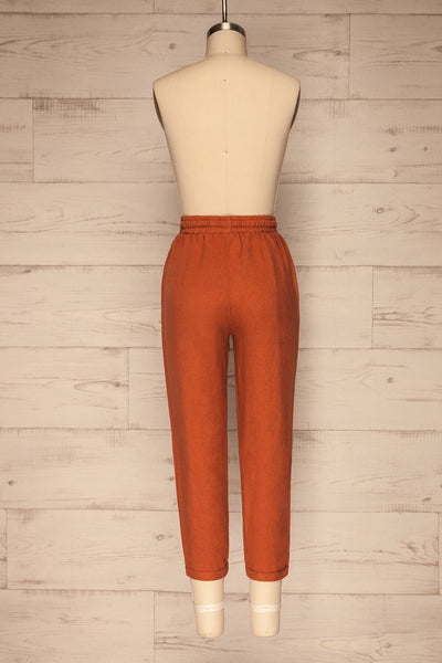 Barbascal Rust Orange Cropped Pants | La petite garçonne back view