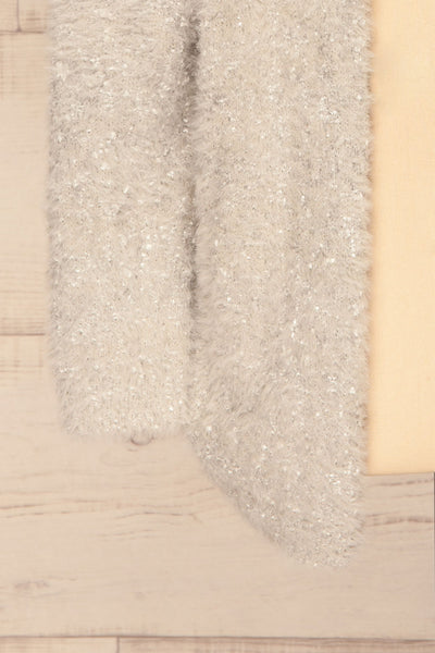 Barcelos Grey Sparkly Fuzzy Cardigan | La Petite Garçonne bottom close-up