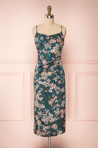 Beatrice Emerald Floral Silky Slit Dress front view | Boutique 1861