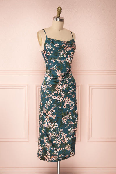 Beatrice Emerald Floral Silky Slit Dress side view | Boutique 1861