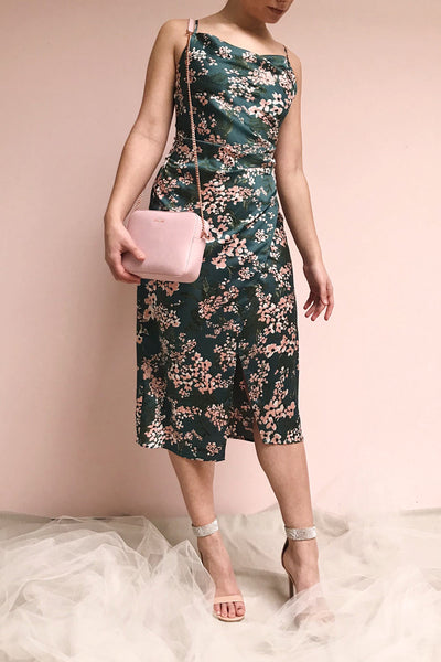 Beatrice Emerald Floral Silky Slit Dress | Boutique 1861 model look
