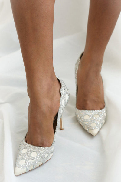 Beauregard Satin Silver Crystals High Heels | Boudoir 1861 on model
