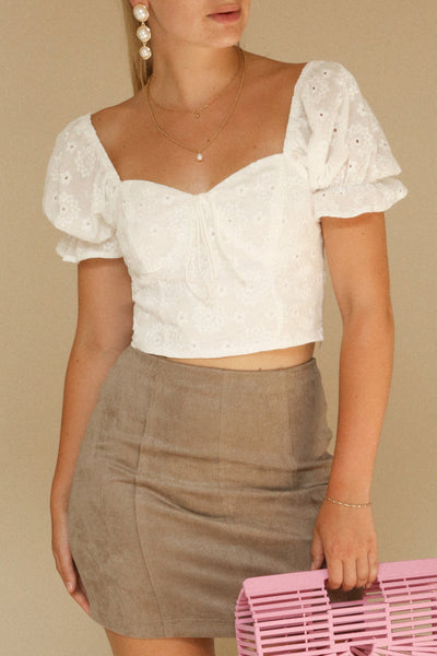 Bedzin White Lace Crop Top with Puff Sleeves | La Petite Garçonne on model