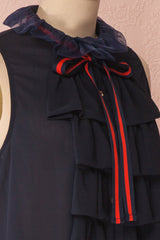 Béla Eau Navy Blue Ruffled Blouse with Bow Collar | Boutique 1861