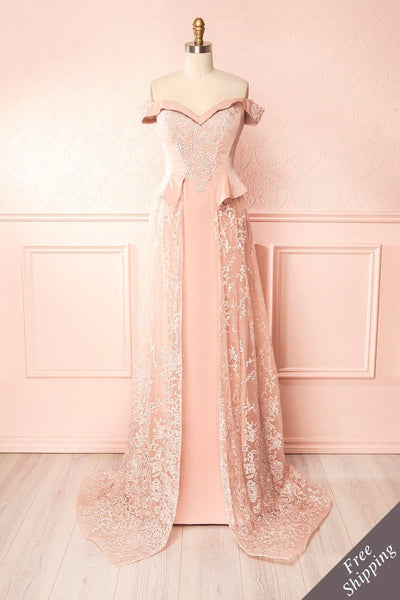 Belén Blush Pink Embroidered Mesh Peplum Gown | Boudoir 1861 1