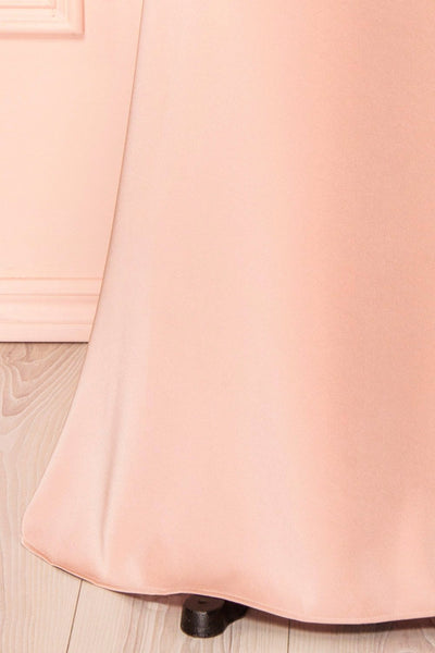 Belén Blush Pink Embroidered Mesh Peplum Gown | Boudoir 1861 10