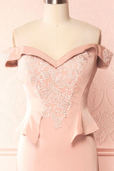 Belén Blush Pink Embroidered Mesh Peplum Gown | Boudoir 1861 4
