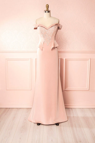 Belén Blush Pink Embroidered Mesh Peplum Gown | Boudoir 1861 3