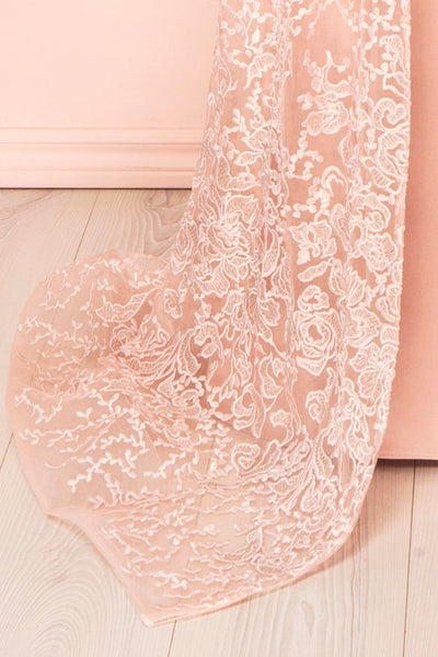 Belén Blush Pink Embroidered Mesh Peplum Gown | Boudoir 1861 9