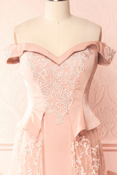 Belén Blush Pink Embroidered Mesh Peplum Gown | Boudoir 1861 2